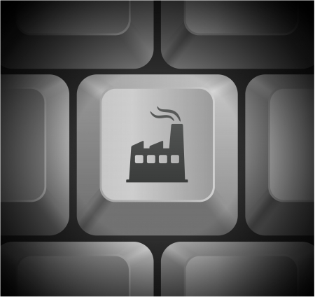 Factory Icon on Computer Keyboard Original Illustration Vector