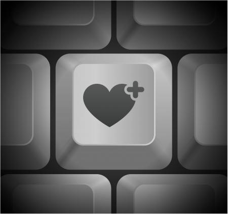 Heart Icon on Computer Keyboard Original Illustration Vector