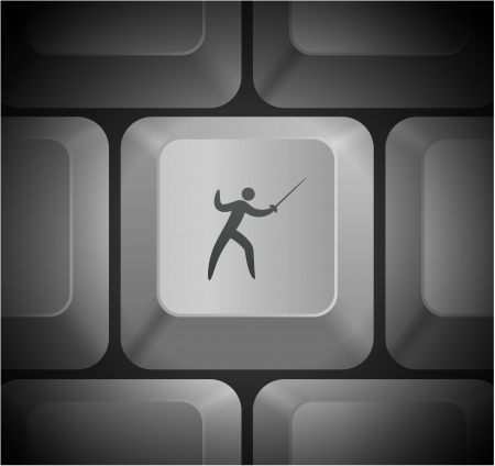 Fencing Icon on Computer Keyboard Original Illustration