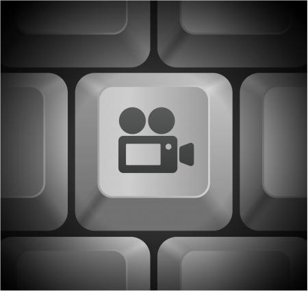 Film Camera Icon on Computer KeyboardOriginal Illustration Stock Vector - 22354175