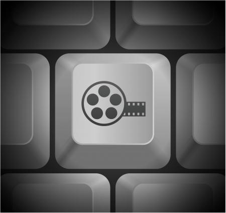 컴퓨터 키보드에서 영화 릴 아이콘 원래 그림