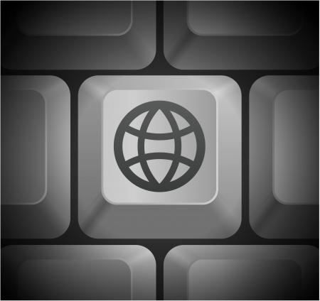 컴퓨터 키보드 원래 그림에 글로브 아이콘