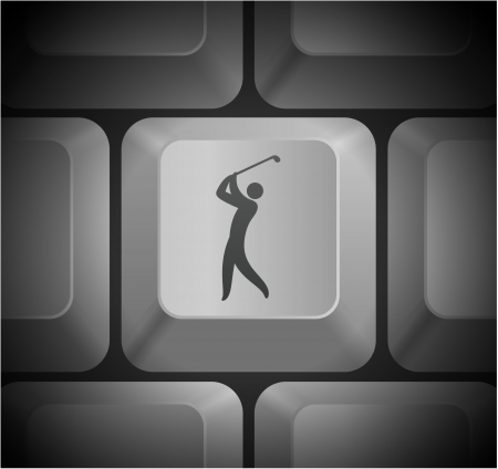 Golf Icon on Computer Keyboard Original Illustration Vector