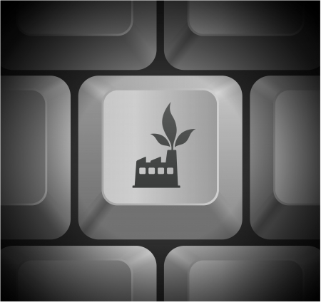 Factory Icon on Computer Keyboard
