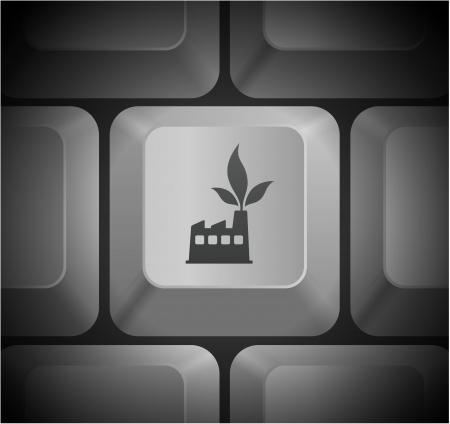 Factory Icon on Computer KeyboardOriginal Illustration