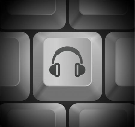 컴퓨터 키보드의 헤드폰 아이콘 원래 그림
