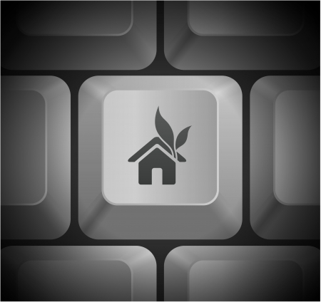House Icon on Computer Keyboard Original Illustration Vector
