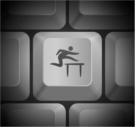 hurdles: Hurdles Icon on Computer Keyboard Original Illustration