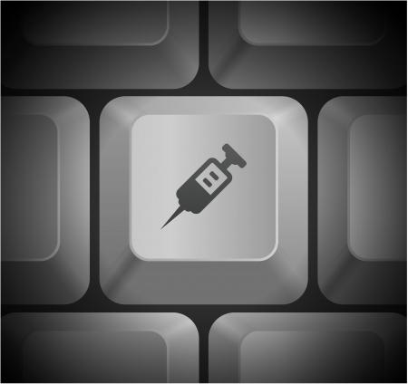 medecine: Medecine Shot Icon on Computer Keyboard Original Illustration