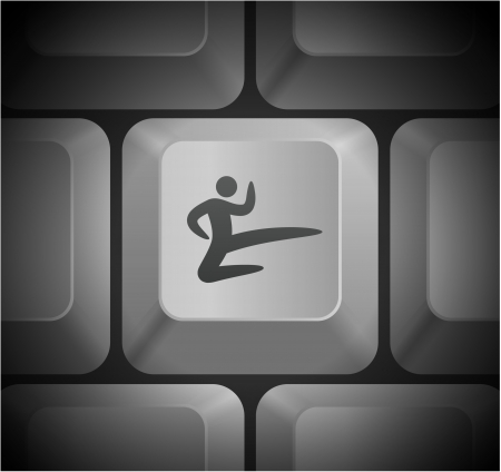Karate Icon on Computer KeyboardOriginal Illustration Çizim