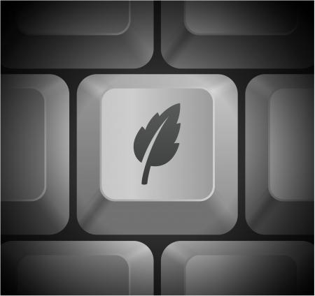 컴퓨터 키보드 원래 그림에 아이콘 잎