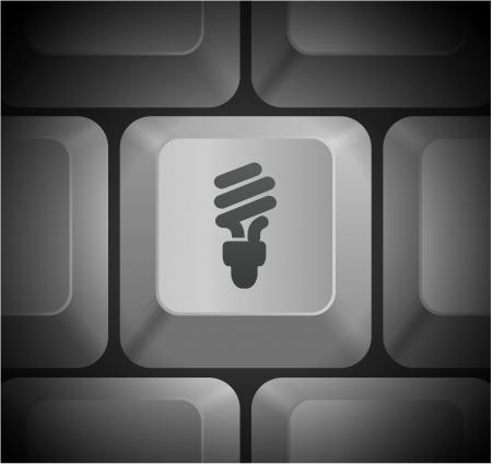 bombillo ahorrador: Icono bombilla de la luz fluorescente en teclado de PC Ilustraci?n original
