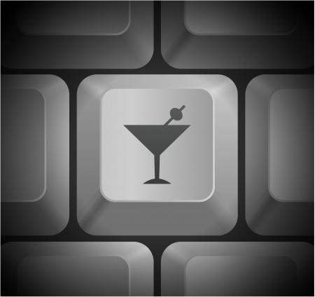 컴퓨터 키보드에 마티니 아이콘 원래 그림