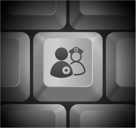 컴퓨터 키보드 원래 그림에 의료 팀의 아이콘