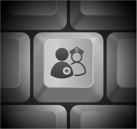 equipe medica: Icone di team medico sulla tastiera del computer Illustrazione originale