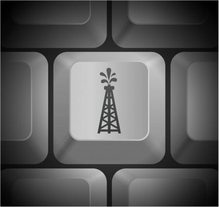typing machine: Oil Drill Icon on Computer Keyboard Original Illustration