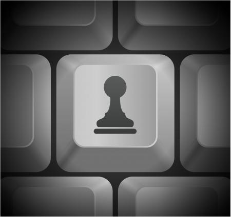 컴퓨터 키보드에 체스 폰 아이콘 원래 그림 일러스트