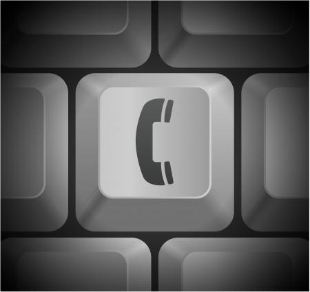 Telephone Icon on Computer KeyboardOriginal Illustration Stock Vector - 22360193