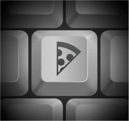 shortcut: Pizza Slice Icon on Computer Keyboard Original Illustration Illustration
