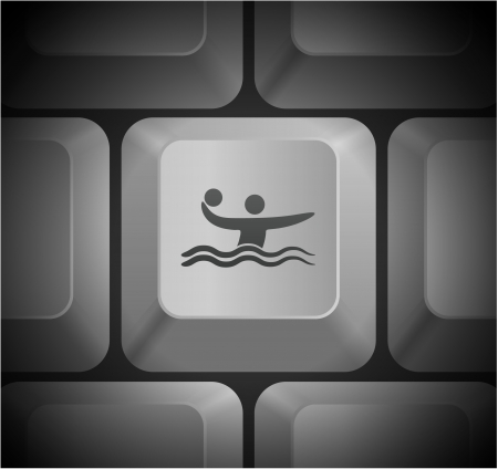 Water Polo Icon on Computer Keyboard Original Illustration Vector