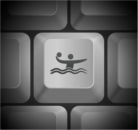 Water Polo Icon on Computer Keyboard Original Illustration