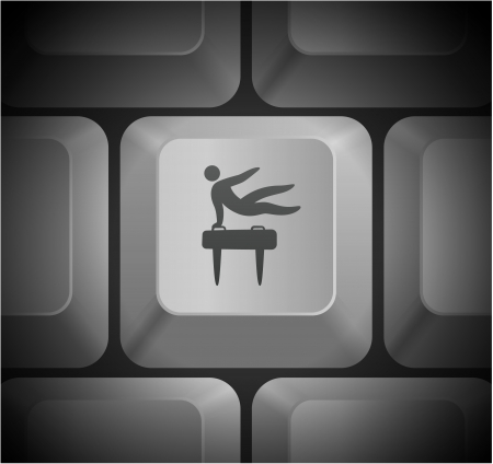 pommel: Pommel Horse Icon on Computer Keyboard Original Illustration