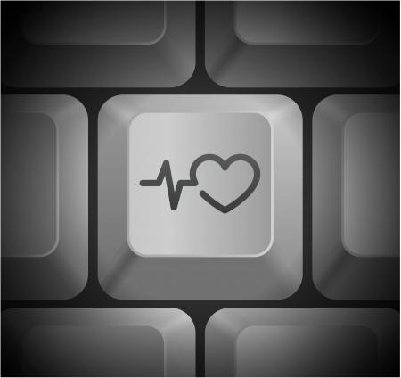 Pulse Heart Rate Icon on Computer Keyboard Original Illustration 向量圖像