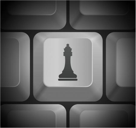 컴퓨터 키보드에 체스 여왕 아이콘 원래 그림