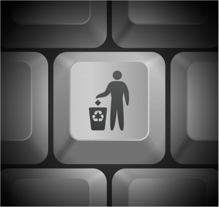 Recycle Icon on Computer Keyboard Original Illustration Vector