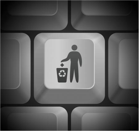 shortcut: Recycle Icon on Computer Keyboard Original Illustration