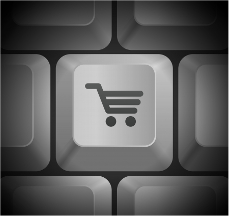 Shopping Cart Icon on Computer Keyboard Original Illustration Vector