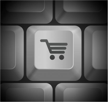 cart: Shopping Cart Icon on Computer Keyboard Original Illustration Illustration