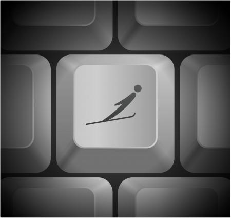 shortcut: Ski Icon on Computer Keyboard Original Illustration