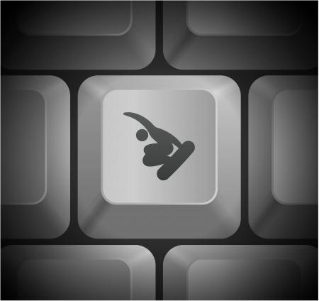 shortcut: Snowboarding Icon on Computer Keyboard Original Illustration