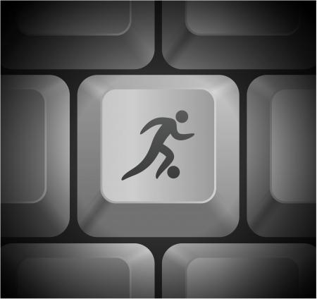 Soccer Icon on Computer Keyboard Original Illustration Vector