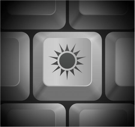 컴퓨터 키보드 원래 그림에 태양 아이콘