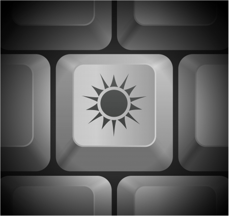 shortcut: Sun Icon on Computer Keyboard Original Illustration