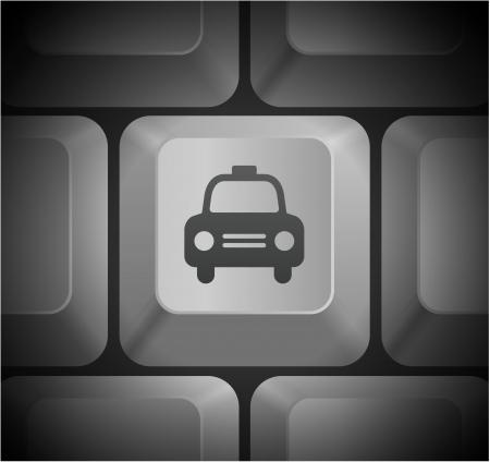 Taxi Cab Icon on Computer Keyboard Original Illustration Illustration