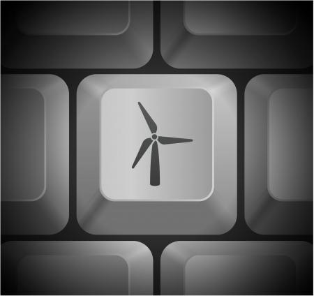 컴퓨터 키보드에 풍력 터빈 아이콘 원래 그림