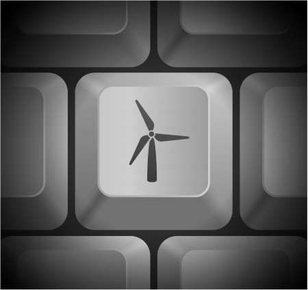 shortcut: Wind Turbine Icon on Computer Keyboard Original Illustration Illustration