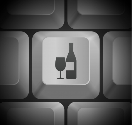 컴퓨터 키보드에 와인 아이콘 원래 그림 일러스트