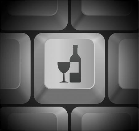 shortcut: Wine Icon on Computer Keyboard Original Illustration Illustration
