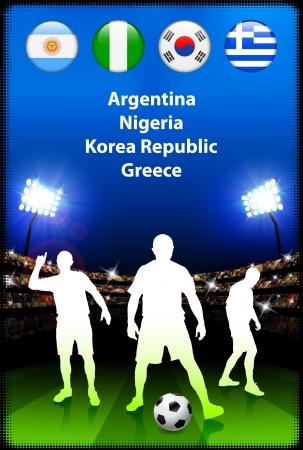 Soccer Player in Global Soccer Event Group B Original Illustration Vector