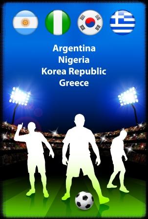 alphabet greek symbols: Soccer Player in Global Soccer Event Group B Original Illustration