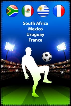 Soccer Player in Global Soccer Event Group A Original Illustration