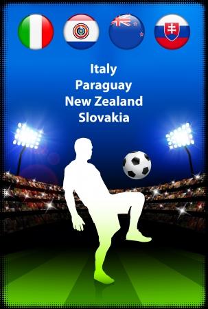 Soccer Player in Global Soccer Event Group F Original Illustration Vector