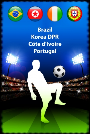 Soccer Player in Global Soccer Event Group G Original Illustration