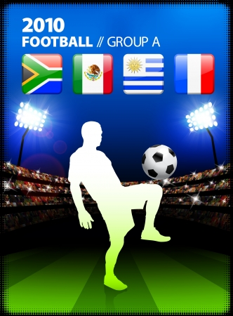 Soccer Player in Global Soccer Event Group A Original Illustration Vector