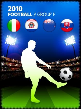 Soccer Player in Global Soccer Event Group FOriginal Illustration