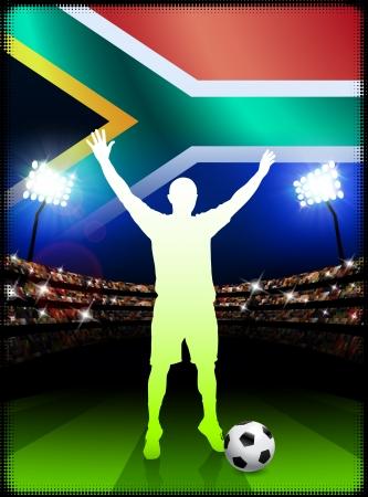 South African Soccer Player in Stadium Match Original Illustration